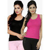 Combo - Black n Magenta Plain Sleeveless Top