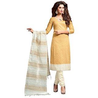 Sareemall Red Cotton Lace Salwar Suit Dress Material