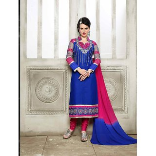 Thankar New Designer Blue And Pink Straight Suit