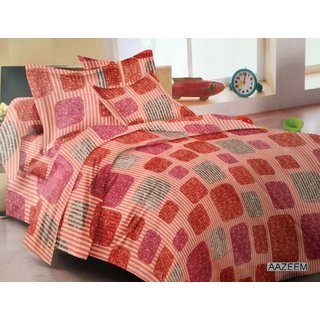Aazeem Classy Red Cotton Bed Sheet