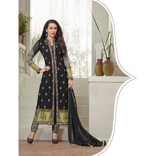 Thankar Black And Beige Embroidered Faux Geirgette Straight Suit