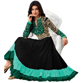 Fancy black with Rama green georgette dress with embroidery work