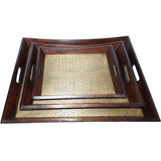 Wooden Tray Set Of 3