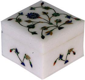 Avinash Handicrafts White Stone Inlaid Jwellery Box 3x3
