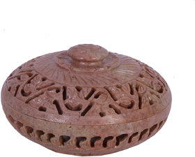 Avinash Handicrafts Soap Stone Multicolor Carved Round Jwellery Box 4