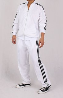 NAVEX Man's White Polyster Training Tracksuits-S