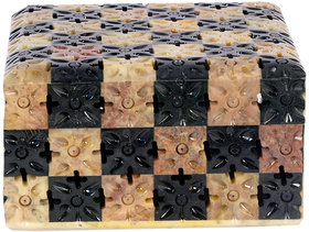 Avinash Handicrafts Soap Stone Multicolor Carved Jwellery Box chess style 3.5x3.