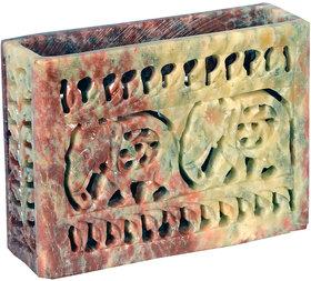 Avinash Handicrafts Soap Stone Multicolor Carved Card Holder 3x4 inch