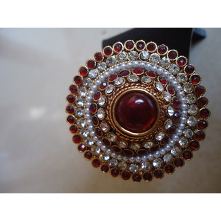 Adjustable Maroon Rajwadi Ring
