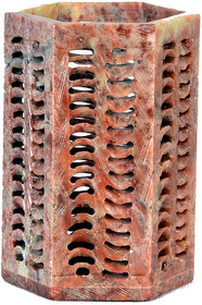 Avinash Handicrafts Soap Stone Multicolor Carved Hexagonal Pen Stand 4x2.5 inch