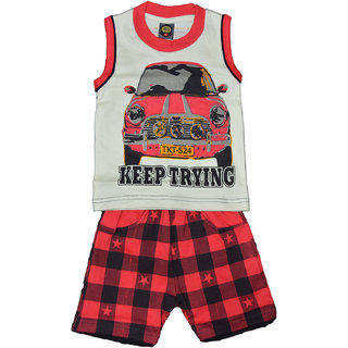 Kids Wear Cotton Printed Top & Bottom Combo Red Color