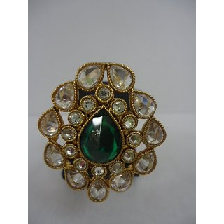 Odette And Adjustable Green Ring