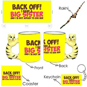 Giftsmate BackOff I've a Big Sis Hamper-Animal handle Mug,Rakhi,Coaster,keychain