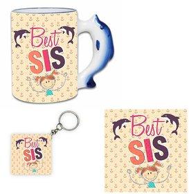 Giftsmate Joyous Best Sister Hamper with Dolphin Handle Mug, Coaster, Keychain
