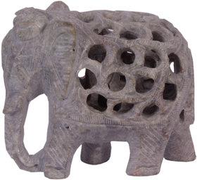 Avinash Handicrafts Soap Stone Threecut Elephant 2.5 Trunk Down