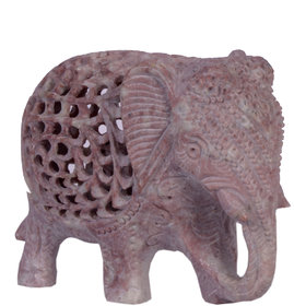 Avinash Handicrafts Soap Stone Threecut Elephant 3 Fine carved