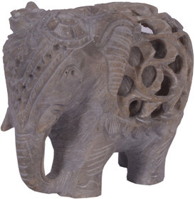 Avinash Handicrafts Soap Stone  Undercut Elephant 3  Trunk Down