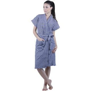 Vixenwrap Navy Blue Stripes Water Absorbent Cotton Bathrobe