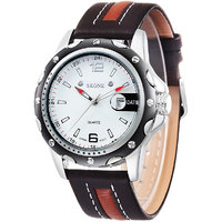 Skone Leather Round Shape Casual Analog Men`s Watch NWA04S028C1