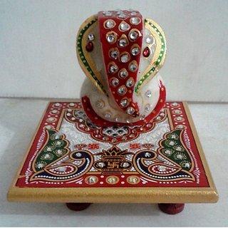 Home Rajasthan Marble Peacock Mehrab Design Choki Ganesh