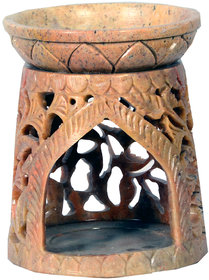 Avinash Handicrafts Soap Stone Multicolor Carved Oil Burner Cone Shape 3.5