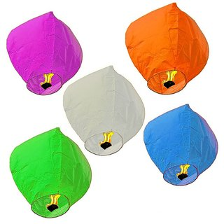 Kites Sky candle (5 PCS ) /Sky lantern in paper lantern (Multicolor)
