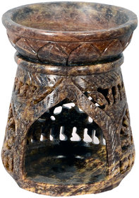 Avinash Handicrafts Soap Stone Multicolor Carved Oil Burner Taper Cone Shape 3.5