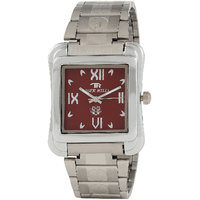 TIGERHILLS RECTANGLE STYLISH STEEL WATCH FOR MEN M.N.13001 (RED)