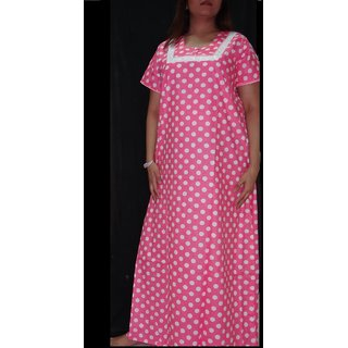 5343e7b9e2 Womens Cotton Nighty 1 Polka Dot Pink Daily Night Gown Slip Lounge Bed Gift  Her at Best Prices - Shopclues Online Shopping Store