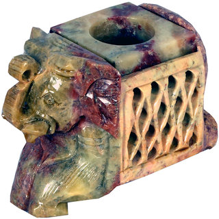 Avinash Handicrafts Soap Stone Multicolor Carved Candle Stand (1face Elephant) 2