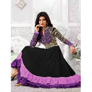 Thankar Black And Purple Embroidered Net And Georgette Anarkali Suit