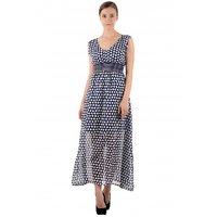 Raabta Fashion White Dotted Maxi Dress For Women