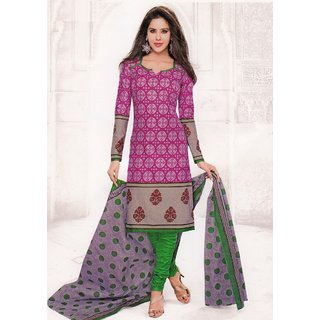 Trendy Pink Cotton Printed Unstitched Dress Material SGS231