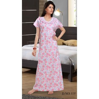 47d7ebf034 Womens Cotton Nighty 1 Printed White Daily Night Gown Slip Lounge Bed Gift  115V In India - Shopclues Online