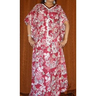 08a0427cb8 Womens Kaftan Cotton Floral Printed Nighty New Night Gown Daily Bed Wear