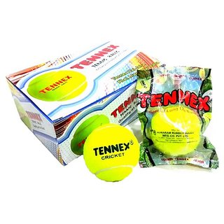 Tennex Cricket Tennis Ball Yellow Light (pack of 06 balls)