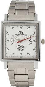Tigerhills Square Dial Silver Metal Strap Quartz Watch For Men