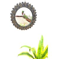 Onlineshoppee Beautiful Design Mirror With Wooden Frame Size (LxBxH-16x1x16)Inch