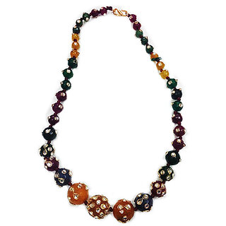 multicolored onyx necklace with kundan work