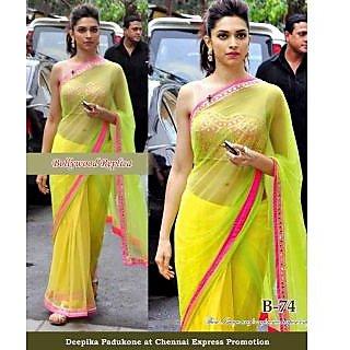 Parifashion Bollywood Designer PartyWear Saree (Green & Pink)