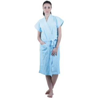 Vixenwrap Sky Blue Solid Water Absorbent Cotton Bathrobe