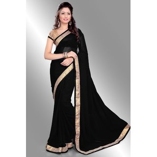 Design Bollywood Indian Traditional Partywear Black Gold Saree