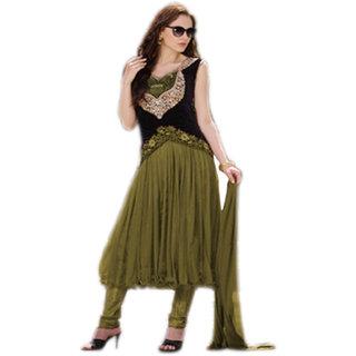Thankar Olive Green And Black Embroidered Net And Velvet Anarkali Suit