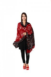 Rajsthani Bandhani red and black Dupatta with mirror work
