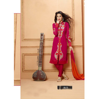Thankar Pink And Red Embroidered Faux Georgette Straight Suit