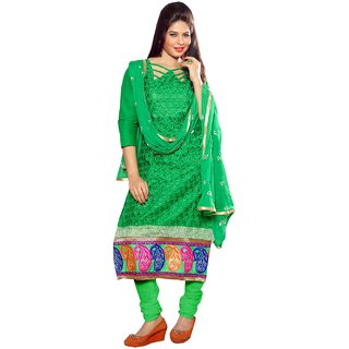 Shopping Queen Green Party Wear Designer Semi-Stitched Salwar Suit