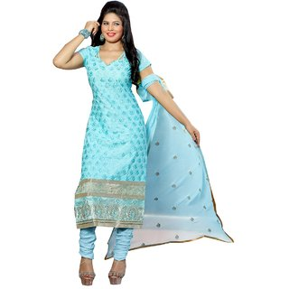 Shopping Queen Elegant Blue Party Wear Designer Semi-Stitched Salwar Suit