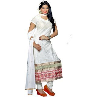 Shopping Queen White Party Wear Designer Semi-Stitched Salwar Suit