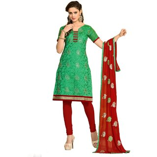 Shopping Queen Classic Green Chanderi Semi-Stitched Salwar Suit