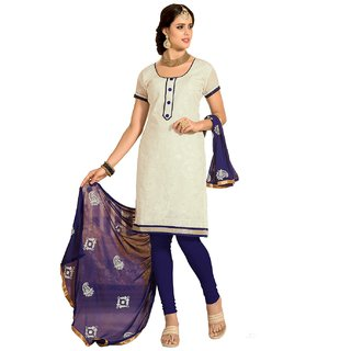 Shopping Queen White Chanderi Semi-Stitched Salwar Suit